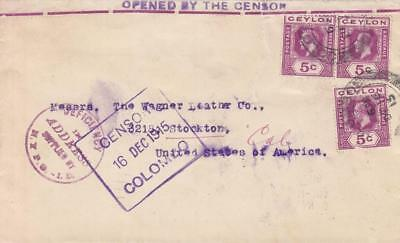 1915, WW1: Colombo, Ceylon to Unknown US Address, Censored, See Remark (C300)