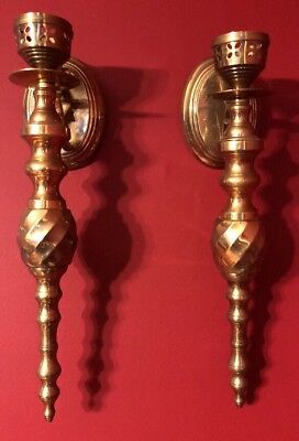 Vintage Solid Brass Wall Sconces - pair Hollywood Regency Heavy 15""
