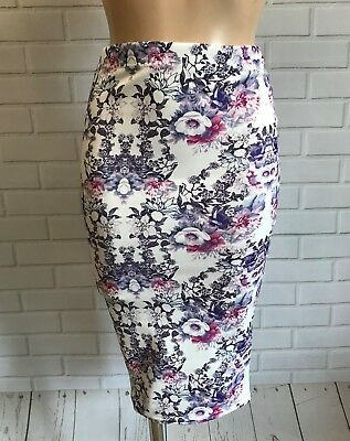 PURPLE TEXTURED STRETCHY MIDI SMART PENCIL WIGGLE CAUSAL SKIRT  SIZE 10-20