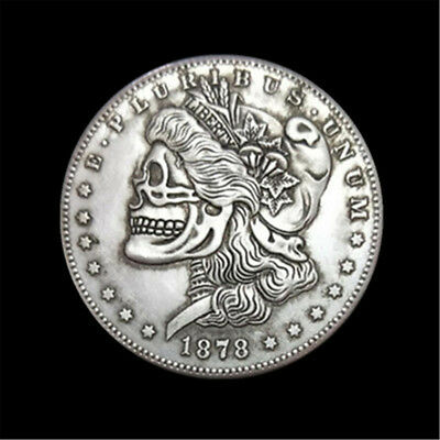1878 Zombie Skull Skeleton Face Morgan dollar 1878cc hobo carved coin Collection