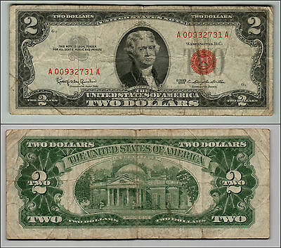 Old Vintage 1963 Series $2 Dollar Bill Red Seal United States Currency L Q887