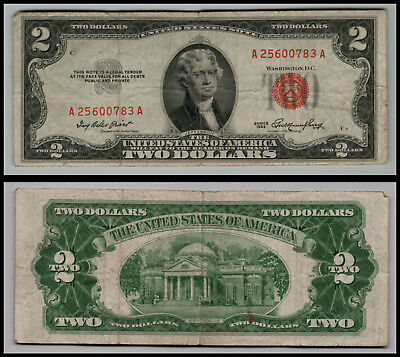 1953 $2 Dollar Bill Old Us Note Legal Tender Paper Money  Red Seal =E72