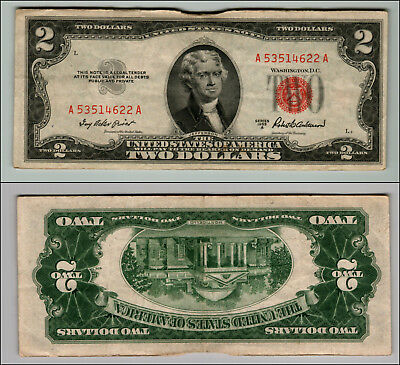 1953A $2 Dollar Bill Old Us Note Legal Tender Paper Money Currency Red Seal Z582