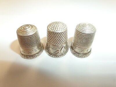 Vintage 3 Sterling Silver Thimbles Lot Mk&o & More