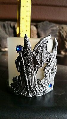 Wizzard, Dragon candle holder. Pewter with removable glass holder.