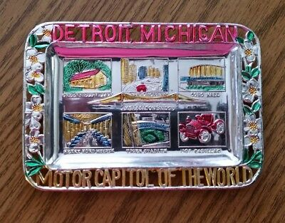 Vtg Pot Metal Ashtray Souvenir Trinket Tray Detroit Motor Capital of the World