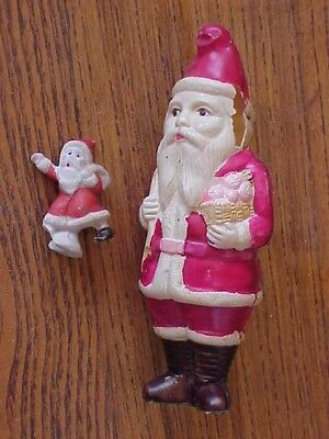 Vintage Celluloid Santa, Great Detail, JAPAN, Toys in Bag, Bisque Santa Skating