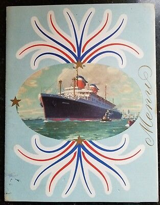 Vintage 1953 United States Lines Ss America Captain Frederick Fender Gala Menu