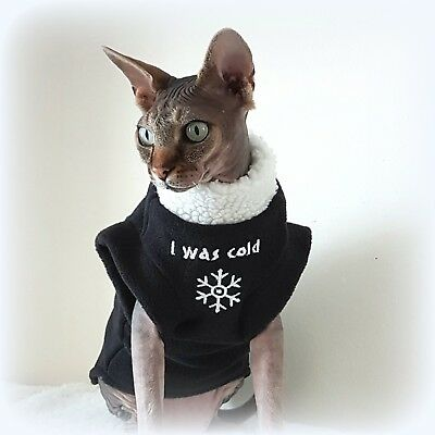I WAS COLD, winter pet clothes, Sphynx cat clothing, cat coat, hotpshynx, devon
