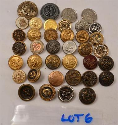 Lot of 38 Vintage Metal Buttons - Military, Dress - #R-2-3-7-Lot 6