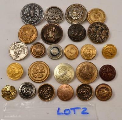 Lot of 25 Vintage Metal Buttons - Military, Dress - #R-2-3-7-Lot 2