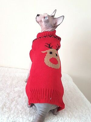 REINDEER cat top for a Sphynx cat, Christmas cat clothes, Sphynx cat top, winter