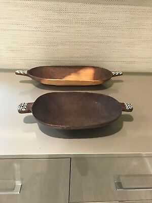 African Olive Wood Trays with Bone inserts, hand carved