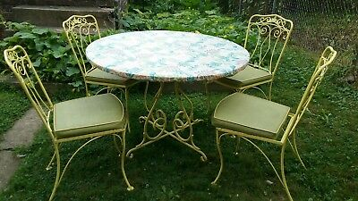 Vtg Mid Century LYON-SHAW Wrought Iron Patio Dinette Set Table w 4 Chairs Yellow