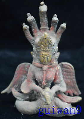 Collectable Chinese Style Antique Old Copper Buddha Head Snake Body Statue Gift