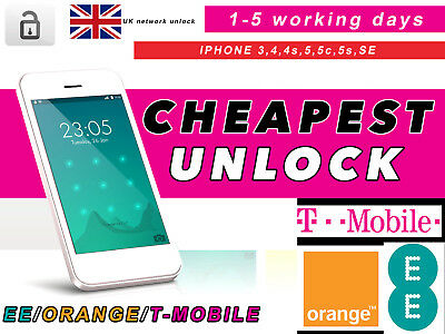 Unlock  Service For Ee Orange T-Mobile Uk For All Iphone 4 4S 5 5C 5S Se