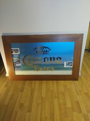"HUGE Corona Extra Beer Bar Mirror Sign Wood Framed Authentic MEXICO 60""X 36"""