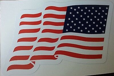 """WAVING AMERICAN FLAG COLOR Vinyl Decal Sticker  (3"""" x 5"""") USA United States"""