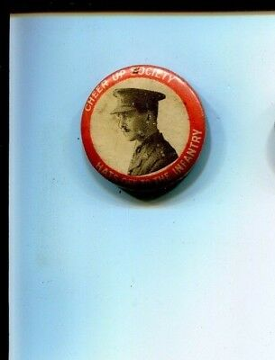 Cheer up Society  Hats Off to the Infantry  Tinnie tinplate badge