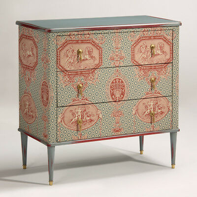 Cavagnolo 18th Century English Style Gray Finish Red Accent Bombe Commode Chest