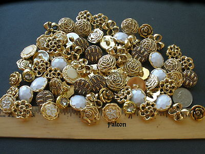 75pc Fancy Gold & white Flower buttons MIX LOT metallic plastic shank rhinestone