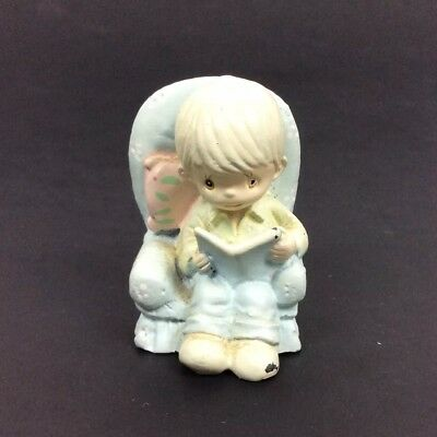 Tiny Painted Cast Iron Figurine Boy In Chair Reading Book Vintage EC
