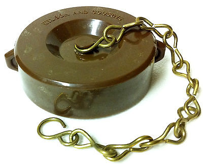 """2-1/2"""" NST Fire Hose Valve/Hydrant StandPipe Cap with Chain Golden Brown"""