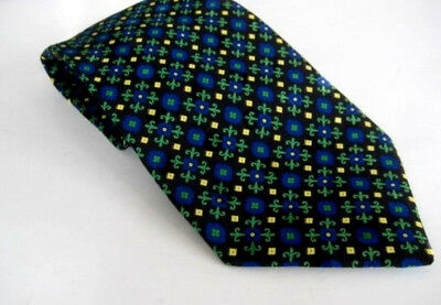 Lot:B6 - BRIONI Men's 100% Silk Necktie ITALY Black / Blue / Green - NEW $125