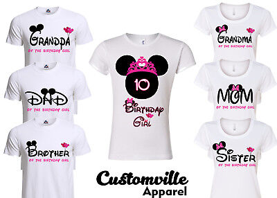 Minnie Birthday Girl Family Matching T-shirts. disney Pink Theme party shirts