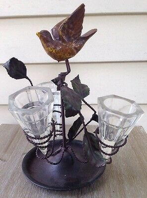 1800's rare BIRD in FLIGHT cold painted EPERGNE table top HIGH style VICTORIAN