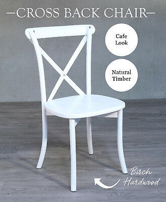 Dining Chair White French Provincial Cross Back Chair Seat Cafe