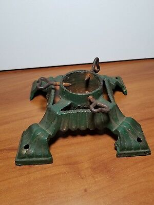 Antique Art Deco Cast Iron Christmas Tree Stand, 8 x 8""