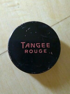 Vintage Tangee Rouge Black Tin Container w/ Red Rouge Powder Puff Antique HH9