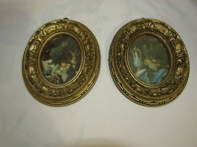 2  Small Oval Vintage Ornate Picture Frames w Glass and Hangers