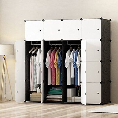 Diy Portable Wardrobe Closet, Modular Storage Organizer, Space Saving Armoire, D