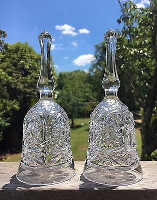 Pair Of Two Matching Vintage Crystal Glass Bells Dinner Wedding