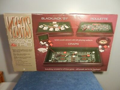Vegas Casino Trio Black Jack 21 Craps Roulette Game Set Wood Never Out of Box