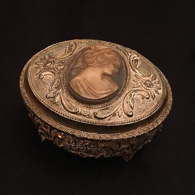 Beautiful Vintage Cameo Jewellery Trinket Box Metal French Antique Style