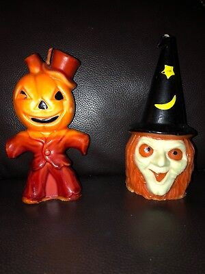 Set Of 2 Vintage Gurley Halloween Candles  Witch Jack O'Lantern In Brown Suit