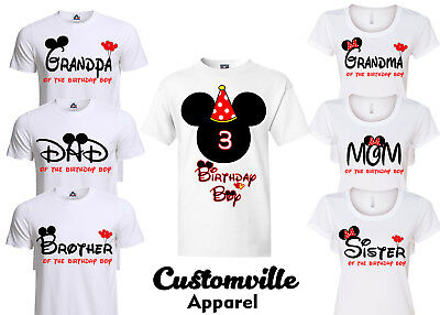 Birthday Boy Mickey Family Matching T Shirts Disney Red Theme Party