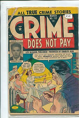 """""""Crime Does Not Pay"""" #132, Published March 1954, Lev Gleason, True Crime Stories"""