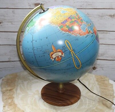 "The Classica From Cram 12"" Illuminated World Globe Wood Base"