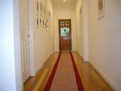 Broadway Hallway Runner Hall Runner Rug Modern Red Cream 3 Metres Long 47411 P