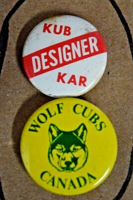 Lot of 2 Vintage Kub Car Designer Wolf Cubs Canada PINBACK Pin Button
