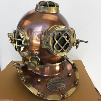 "Diving Divers Helmet Full Size 18"" Solid Steel & Brass Vintage Us Navy Mark V"