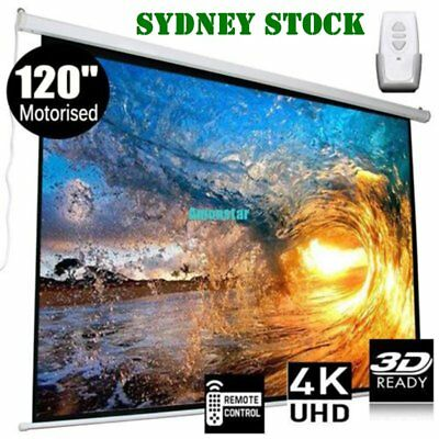 120 Inch Projector Screen Home Theatre HD TV Electric Motorised Projection 3D OM