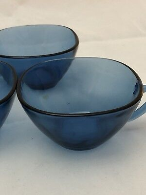 Set of (3)VINTAGE VERECO Blue Coffee Cups. Great Condition. Very usable