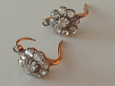 A Fine Antique French 18 K Gold Pair Of Earrings Set With 2 Carats Of Diamonds