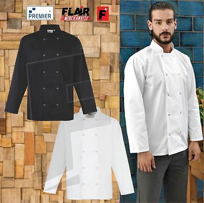 Premier Studded Front Long Sleeve Chef's Jacket PR665 Stand Collar Chefs Aprons