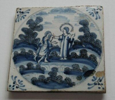 Antique circa 1690 Blue & White Dutch Delft Biblical Religious Scene Jesus Tile